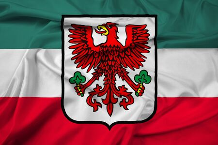 polity: Waving Flag of Gorzow Wielkopolski with Coat of Arms, Poland