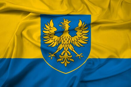Waving Flag of Opole Voivodeship with Coat of Arms, Poland