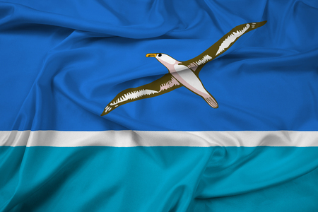 unincorporated: Waving Flag of Midway Atoll (unofficial) Stock Photo