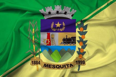 Waving Flag of Mesquita, Rio de Janeiro, Brazil Imagens - 62436461