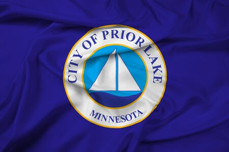 prior lake: Waving Flag of Prior Lake, Minnesota, USA Stock Photo