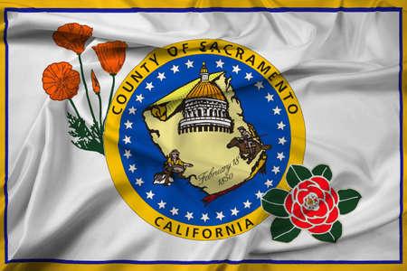 Waving Flag of Sacramento County, California, USA