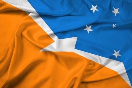 tierra: Waving Flag of Tierra del Fuego Province, Argentina Stock Photo