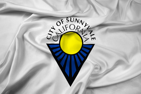 Waving Flag of Sunnyvale, California, USA