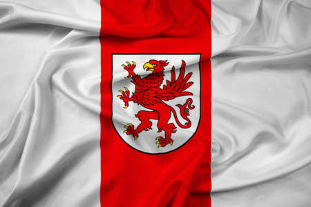 polity: Waving Flag of West Pomeranian Voivodeship, Poland Stock Photo