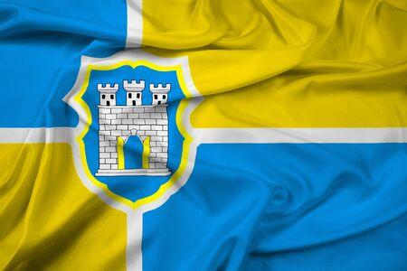 Waving Flag of Zhytomyr, Ukraine Stock Photo