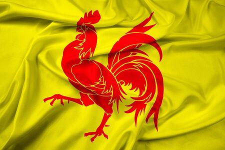 Waving Flag of Walloon Region (Wallonia), Belgium