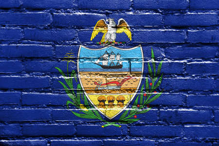 allegheny: Flag of Allegheny County, Pennsylvania, USA, painted on brick wall