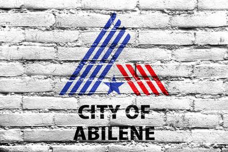 Flag of Abilene, Texas, USA, painted on brick wall