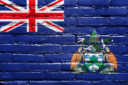 the ascension: Flag of Ascension Island, Canada, painted on brick wall Stock Photo