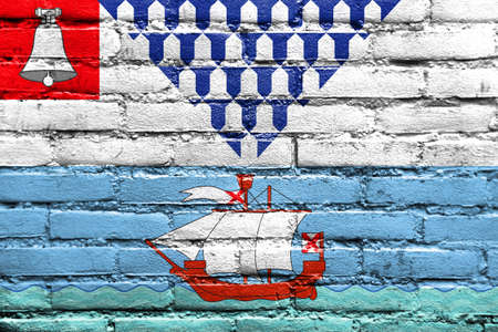 Flag of Belfast, Northern Ireland, UK, painted on brick wall Stock Photo