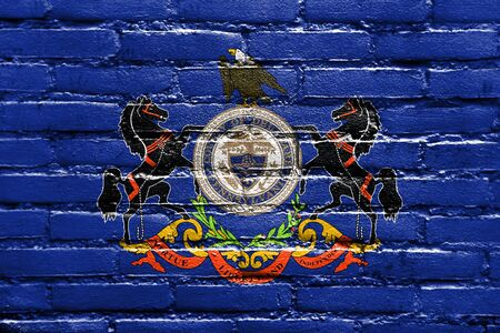 Flag of Delaware County, Pennsylvania, USA, painted on brick wall