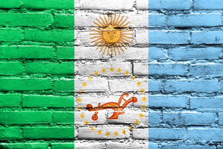 chaco: Flag of Chaco Province, Argentina, painted on brick wall