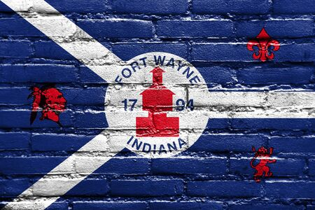Flag of Fort Wayne, Indiana, USA, painted on brick wall Stock Photo