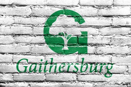 Flag of Gaithersburg, Maryland, USA, painted on brick wall