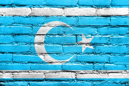 Flag of Iraqi Turkmen Front, painted on brick wall Stock Photo