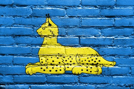 polity: Flag of Homel (Gomel), Belarus, painted on brick wall