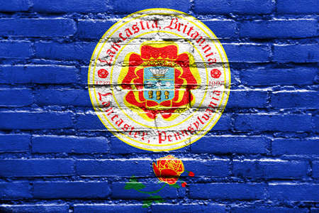 Flag of Lancaster, Pennsylvania, USA, painted on brick wall
