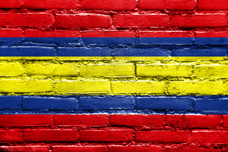 loja: Flag of Loja, capital of Loja Province, Ecuador, painted on brick wall