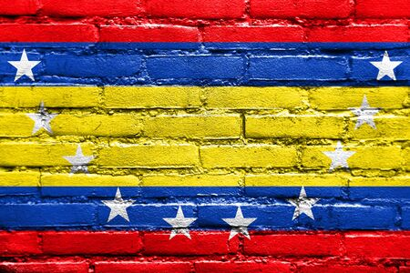 Flag of Loja Province, Ecuador, painted on brick wall Stock Photo