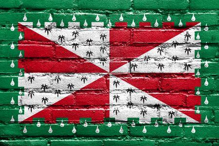 Flag of Loudoun County, Virginia, USA, painted on brick wall