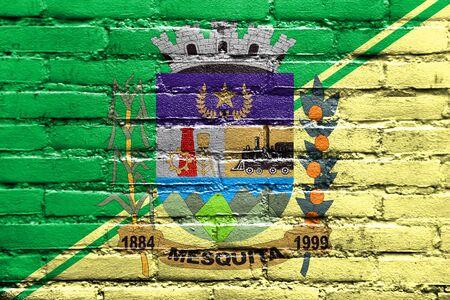 Flag of Mesquita, Rio de Janeiro, Brazil, painted on brick wall