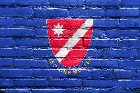 Flag of Molise Region, Italy, painted on brick wall