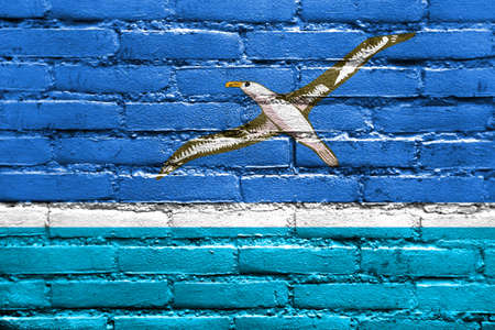 atoll: Flag of Midway Atoll (unofficial), painted on brick wall