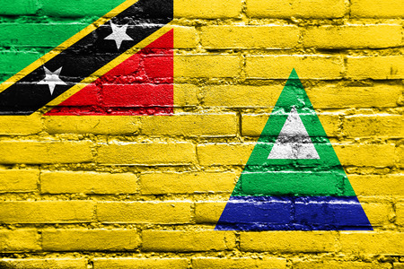 Flag of Nevis, Saint Kitts and Nevis, painted on brick wall