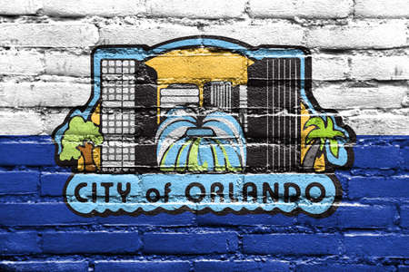 Flag of Orlando, Florida, USA, painted on brick wall