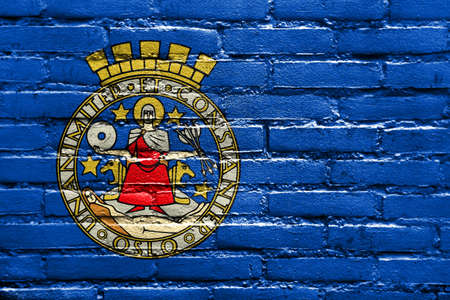 Flag of Oslo, Norway, painted on brick wall