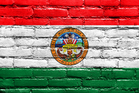 polity: Flag of San Diego County, California, USA, painted on brick wall Stock Photo