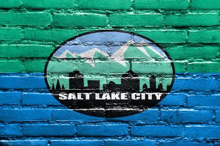 Flag of Salt Lake City, Utah, USA, painted on brick wall