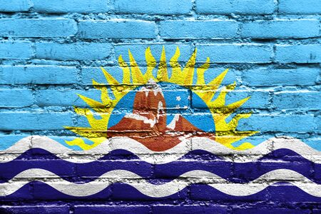 santa cruz: Flag of Santa Cruz Province, Argentina, painted on brick wall Stock Photo