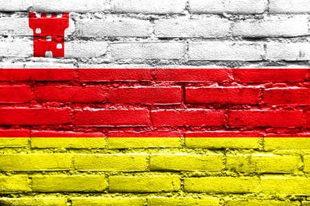 Flag of Santa Barbara, California, USA, painted on brick wall Stock Photo