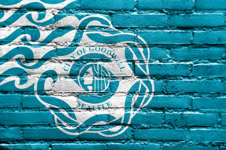 Flag of Seattle, USA, painted on brick wall