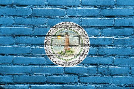 Flag of Virginia Beach, Virginia, USA, painted on brick wall Stock Photo