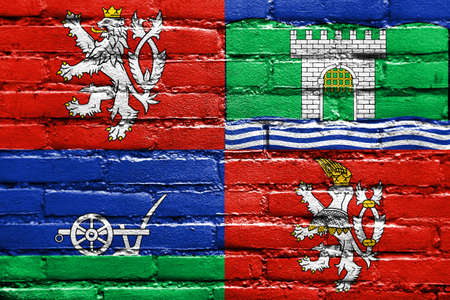 Flag of Usti nad Labem Region, Czechia, painted on brick wall Stock Photo