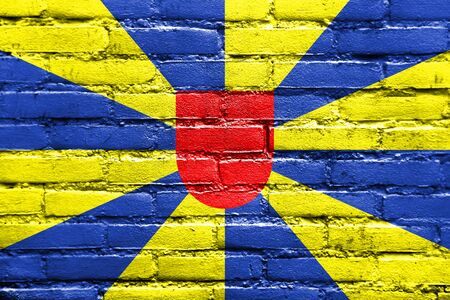 flanders: Flag of West Flanders Province, Belgium, painted on brick wall