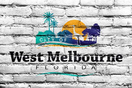 Flag of West Melbourne, Florida, USA, painted on brick wall