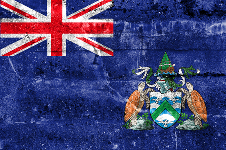 the ascension: Flag of Ascension Island, Canada, painted on dirty wall