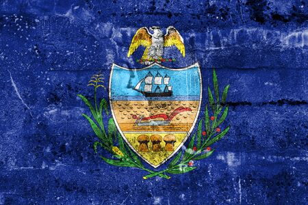 Flag of Allegheny County, Pennsylvania, USA, painted on dirty wall