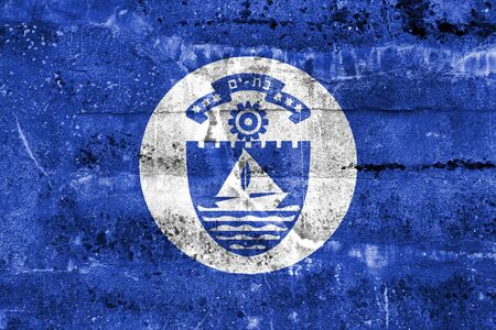 yam israel: Flag of Bat Yam, Israel, painted on dirty wall
