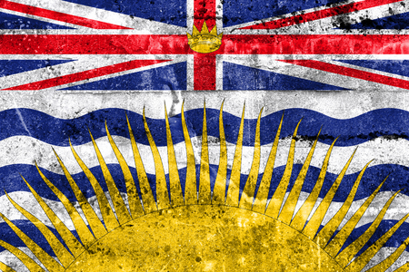 polity: Flag of British Columbia Province, Canada, painted on dirty wall