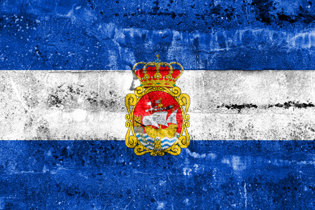aviles: Flag of Aviles, Spain, painted on dirty wall Stock Photo