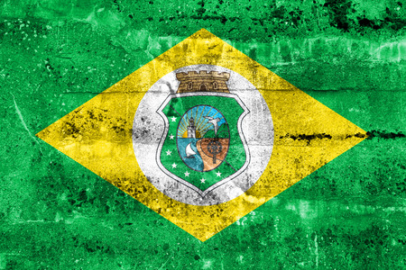 polity: Flag of Ceara State, Brazil, painted on dirty wall Stock Photo