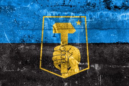 donetsk: Flag of Donetsk, Ukraine, painted on dirty wall