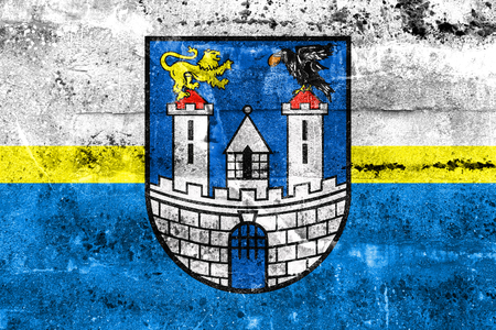 czestochowa: Flag of Czestochowa with Coat of Arms, Poland, painted on dirty wall
