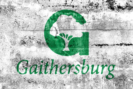 gaithersburg: Flag of Gaithersburg, Maryland, USA, painted on dirty wall