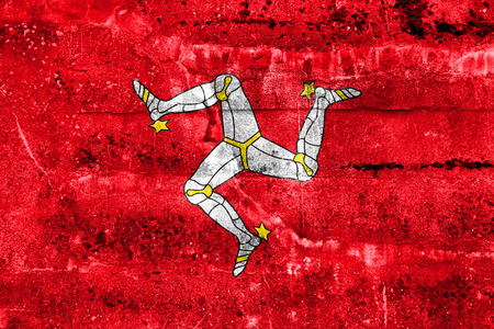 polity: Flag of Isle of Man, painted on dirty wall